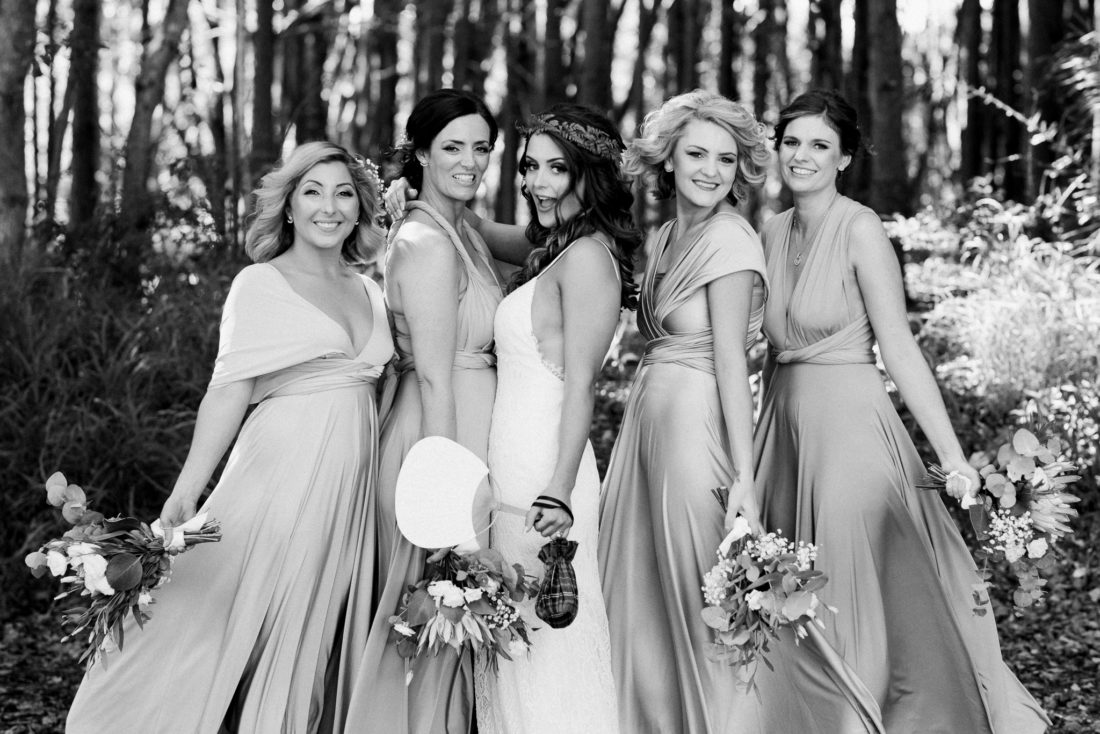 Lesley and her bridesmaids at Figtree